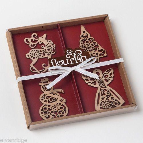 Set of four boxed set Wood Ornaments Flourish snowman tree angel reindeer