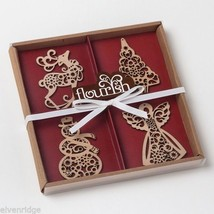 Set of four boxed set Wood Ornaments Flourish snowman tree angel reindeer