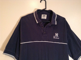 NY Yankees Dark Blue w Gray Trim Lee Sport 100 Percent Cotton Polo Shirt Size XL image 2