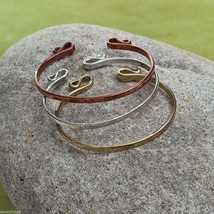 Set of three copper silver gold rustic bangle set NEW