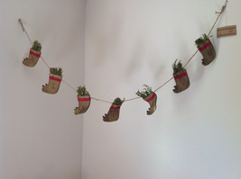 Seven Hanging Christmas Stocking Ornaments BELIEVE Garland image 1