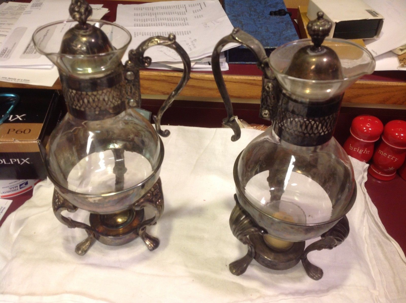 Set of two vintage silverplate serving coffee and tea carafes