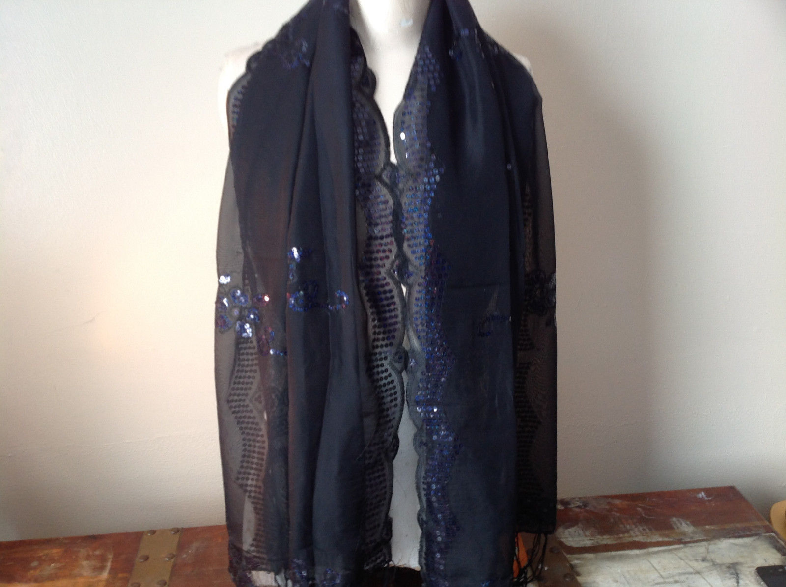 Sheer Black Scarf with Sequins See Measurements Below