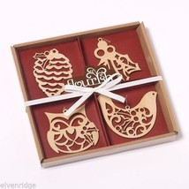 Set of four boxed set Nature Wood Ornaments Flourish pine cone owl mistletoe