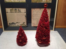 Set of Two Glittery Red Christmas Tree Figurines Department 56 scenery