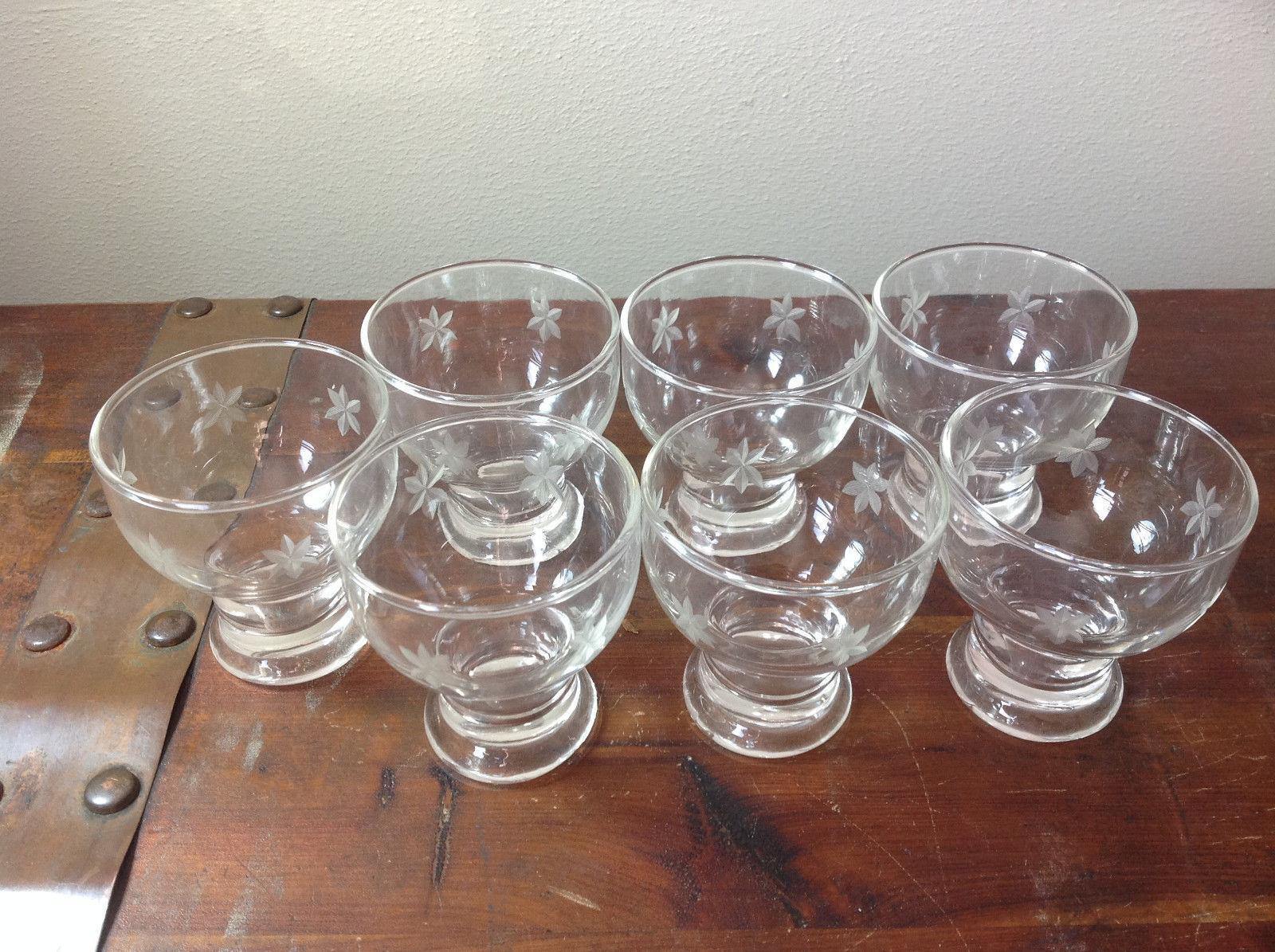 Seven Piece Set of Crystal Dessert Dishes Copper Wheel Engraving Handmade