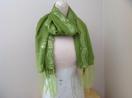 Sheer Green Scarf with Sequin Designs and Tassels Tag Attached Length 68 Inches