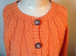 Nautica Carrot Orange Button Down Open Front Knitted Design Sweater Size Large image 2