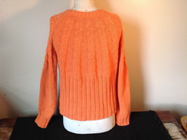 Nautica Carrot Orange Button Down Open Front Knitted Design Sweater Size Large image 6