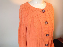Nautica Carrot Orange Button Down Open Front Knitted Design Sweater Size Large image 4