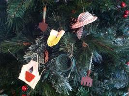 Set of 6 Gardening Tool Tree Ornaments - shovel hose hat gloves apron pitchfork