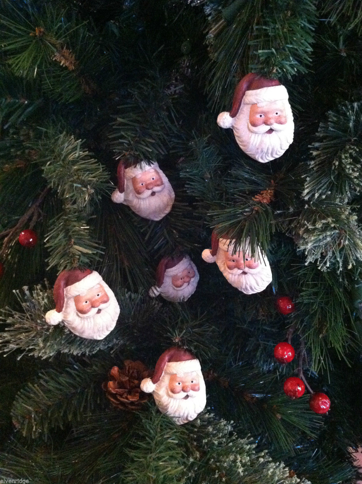 Set of 6 Santa Head Christmas Ornaments with flat back