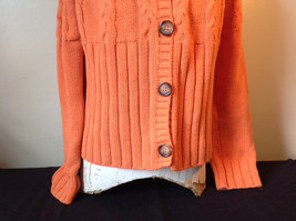 Nautica Carrot Orange Button Down Open Front Knitted Design Sweater Size Large image 3