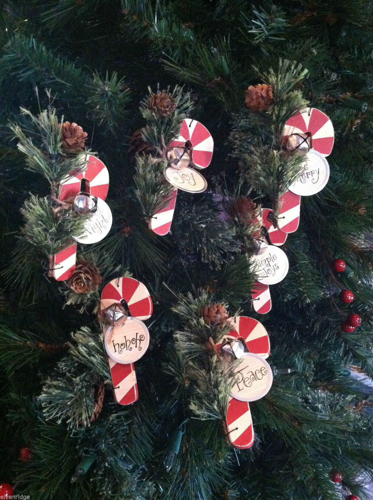 Set of 6 Wooden Candy Cane Tree Ornaments with Pine and Bell Decoration