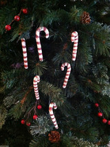 Set of 6 Rustic wood Candy Cane Tree Ornaments painted red and white