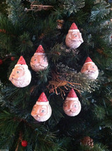 Set of 6 Round Santa Claus Heads - Red/White Polka Dot Cap Christmas ornaments