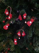 Set of 6 Glittery Pairs of Hat and Mitten Tree Ornaments