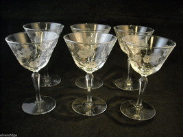 Set of 6 vintage cocktail Glasses copper wheel engraved