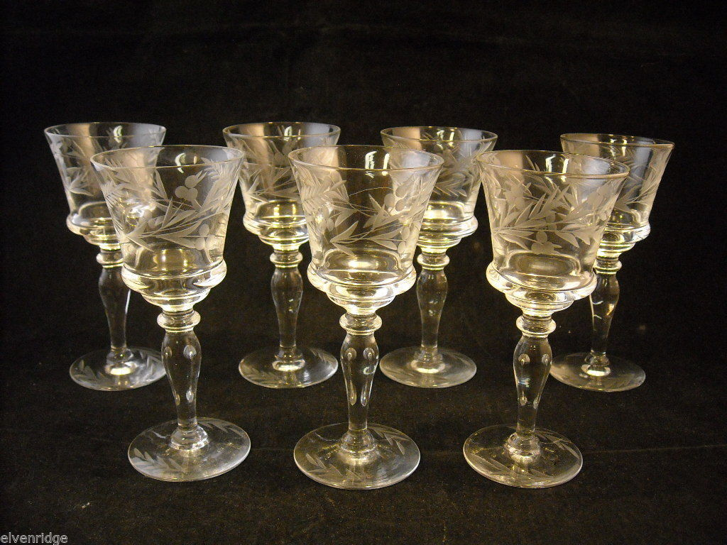 Set of 7 liquor stemware glass with copper wheel design of leaves and  berries