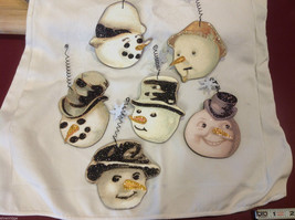 Set of 6 vintage image wood Snowman head ornaments with glitter and snowflakes