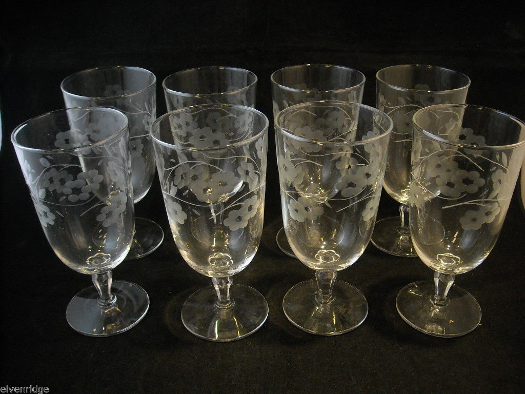 Set of 8 Large Stem Water Glasses copper wheel engraved vintage