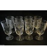 Set of 8 Large Stem Water Glasses copper wheel engraved vintage - $148.49