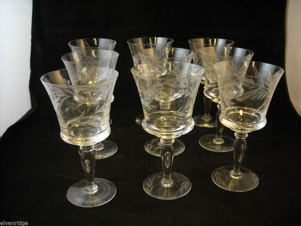 Set of 9 wine glass stemware with copper wheel design of leaves and  berries
