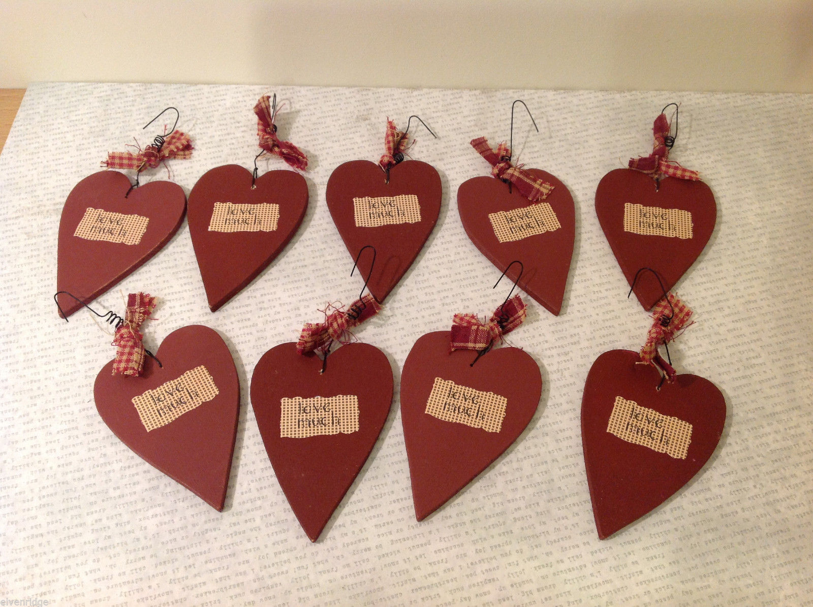 """Set of 9 Wooden Red Heart Tree Ornaments """"LOVE MUCH"""" with ribbon"""