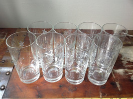 Set of Eight Clear Tall Water Glasses with Copper Wheel Engraving