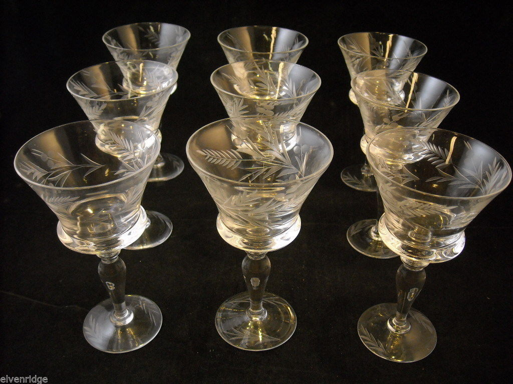 Set of 9 small wine or large liquor glasses copper wheel design leaves berries