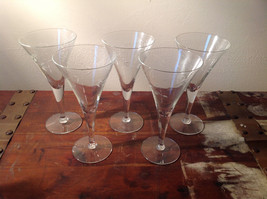 Set of Five Tall Champagne Glass Stemware Cooper Wheel Engraving High Quality image 1