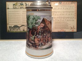 Porcelain German Stein with Metal Lid Party Scene Painted on Front image 3