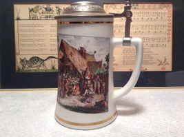 Porcelain German Stein with Metal Lid Party Scene Painted on Front image 5