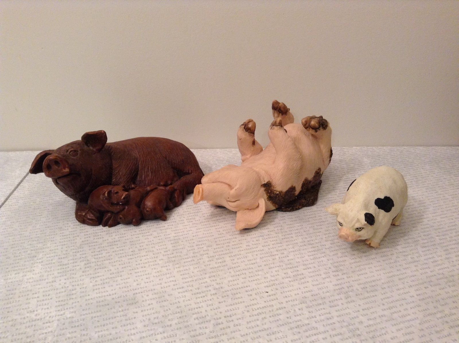 Set of Three Pig Figurines Brown Pink White Mother with Piglets Standing Laying