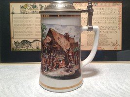 Porcelain German Stein with Metal Lid Party Scene Painted on Front image 4