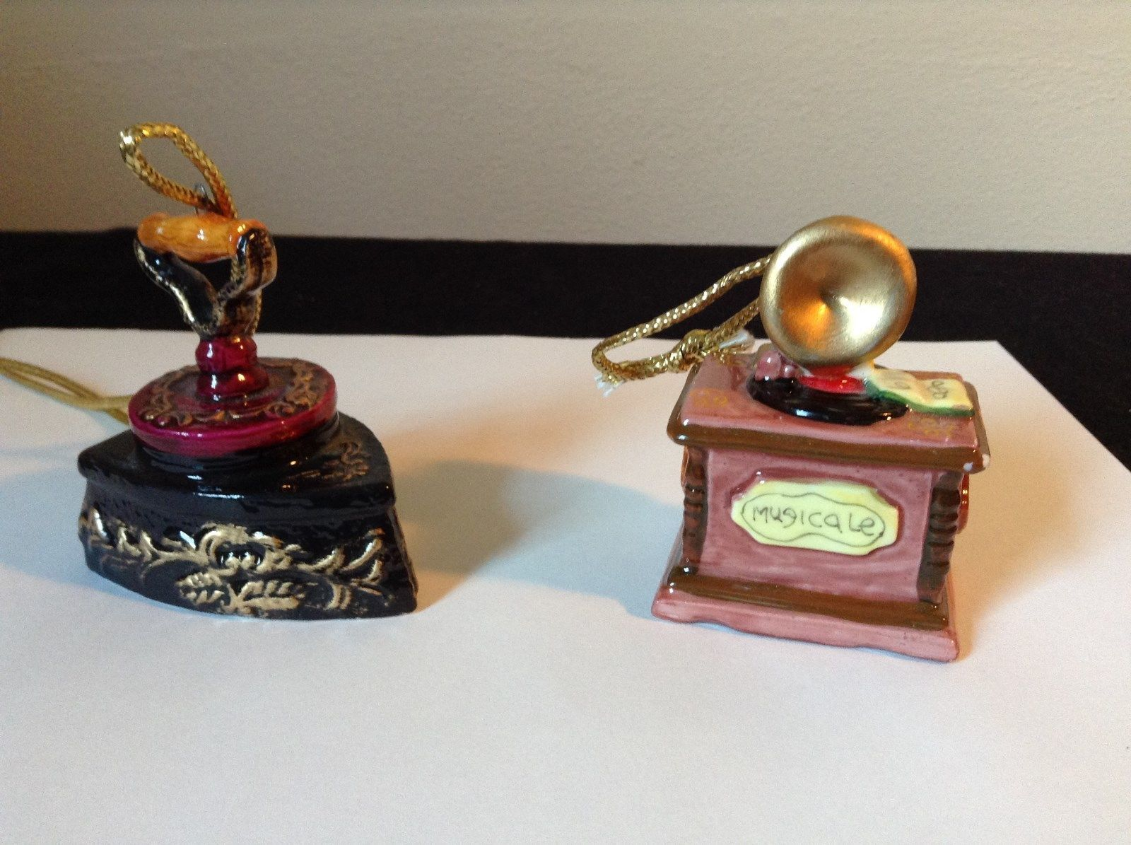 Set of Two Vintage Ornaments Iron and Mugicale Old Fashion Musical Player