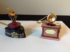 Set of Two Vintage Ornaments Iron and Mugicale Old Fashion Musical Player - $39.99