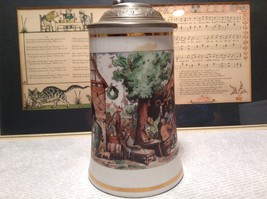 Porcelain German Stein with Metal Lid Party Scene Painted on Front image 2