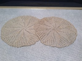 Set of Two Vintage Hand work with sparkly beads  Coasters 5 Inches Diameter
