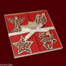 Set of four boxed set Laser Wood Ornaments Flourish Reindeer Dove Angel Star