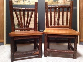 Set of Two Miniature Log Chairs Tags Attached