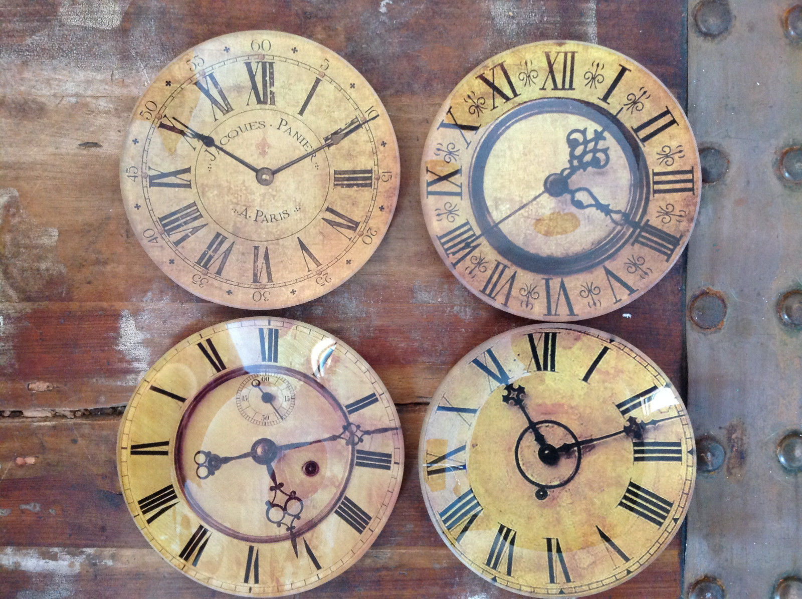 Set of Four Vintage Clock Face Glass Trays Roman Numeral Numbers