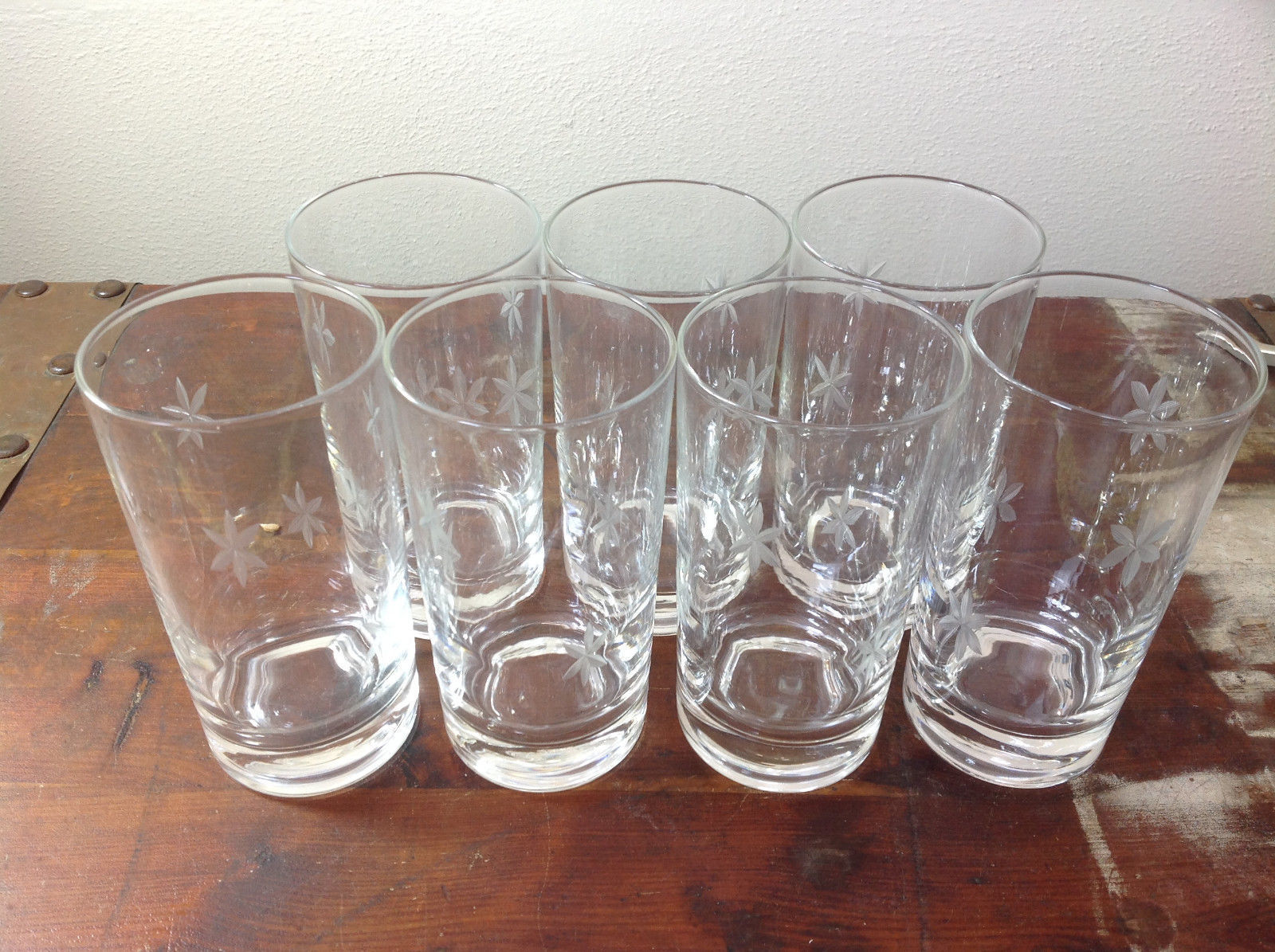 Seven Piece Set of Short Water Glasses Handmade Copper Wheel Engraving