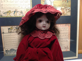 Porcelain Girl Doll with Hat and Red Dress Collectible Intricate image 2