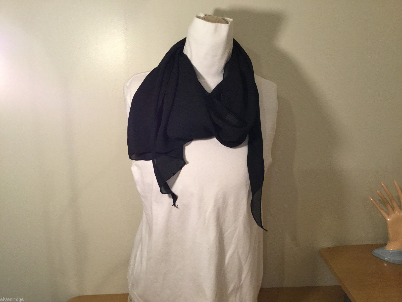 Sheer Black 100% Polyester Scarf Wrap One Side Longer Corners Many ways to use