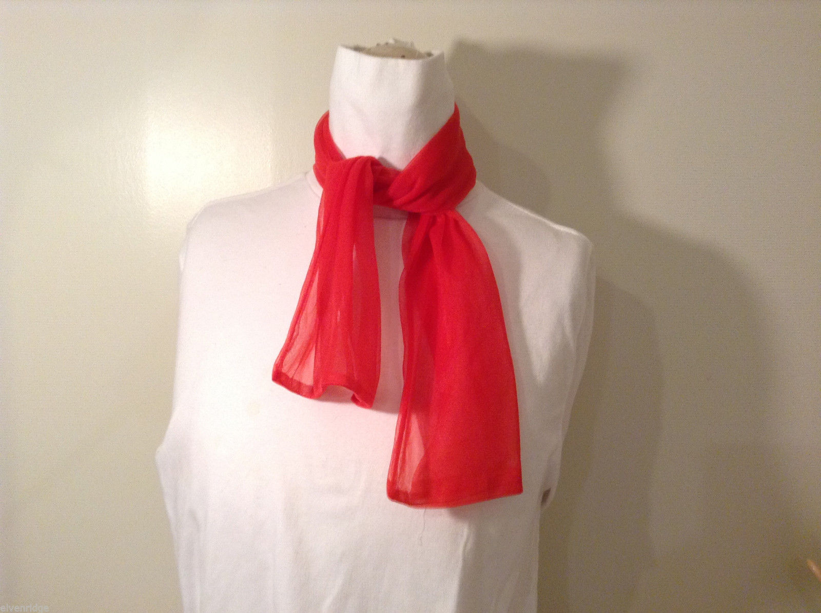 Sheer Tulle Red Scarf or Necktie