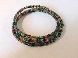 Pretty Multicolored Beaded Coil Bracelet Adjustable image 3