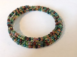 Pretty Multicolored Beaded Coil Bracelet Adjustable image 2