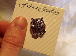 Pretty Pink Crystal Owl Silver Tone Pin image 4