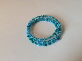 Pretty Light and Dark Blue Beaded Coil Adjustable Bracelet  image 2